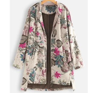 Palton dama model vintage cu imprimeu colorat