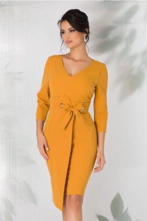Rochie conica galben mustar cu fundita in talie