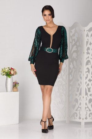 Rochie de ocazie eleganta din crepe si paiete