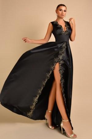 Rochie de ocazie eleganta din tafta neagra cu broderie