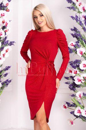 Rochie de ocazie eleganta midi din lycra rosie cu sclipici si maneca lunga