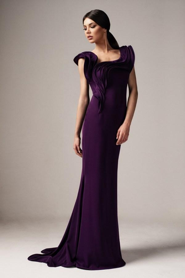 Rochie de ocazie eleganta mov lunga tip sirena cu croi mulat