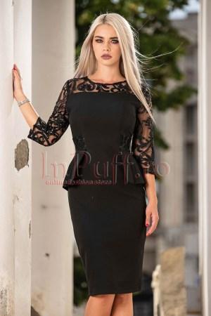 Rochie de ocazie eleganta neagra cu maneca din tul brodat