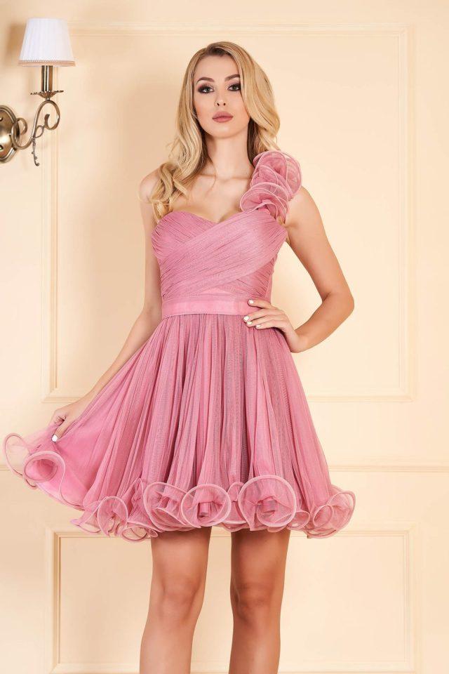 Rochie de ocazie mov deschis tip corset in clos din tul cu bust buretat