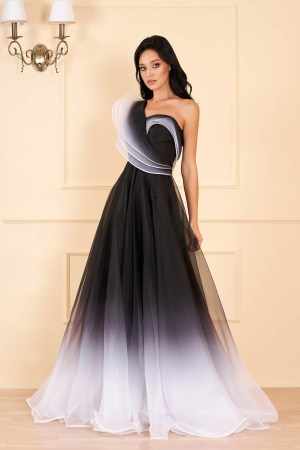 Rochie de ocazie neagra lunga de lux cu croi in a pe umar din tul
