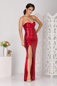 Rochie de ocazie rosie tip sirena croi lung cu paiete de efect
