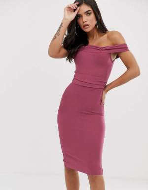 Rochie de zi eleganta lila conica umeri goi Asos