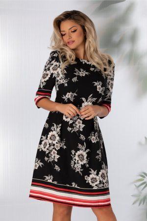 Rochie de zi neagra cu imprimeu floral alb