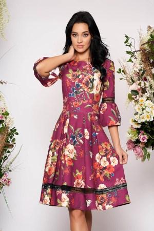 Rochie elaganta de ocazie in clos cu maneci clopot cu imprimeu floral