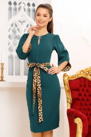 Rochie eleganta cambrata verde cu maneci largi