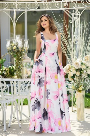 Rochie eleganta de seara lunga alba cu imprimeu floral