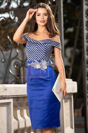 Rochie eleganta de seara midi albastra cu broderie argintie