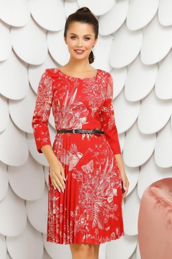 Rochie eleganta de zi rosie cu imprimeu floral si maneci lungi