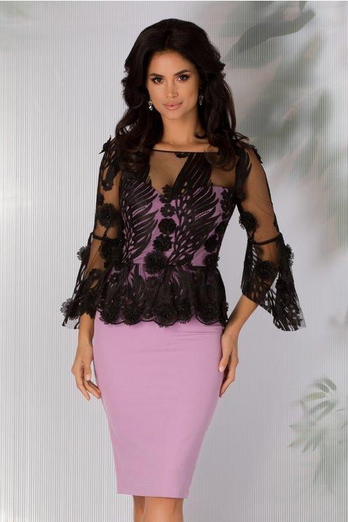 Rochie eleganta lila cu tull brodat la bust si peplum in talie