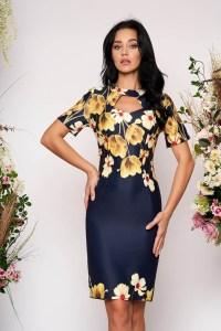 Rochie eleganta midi decupata la bust cu maneci scurte cu imprimeu floral