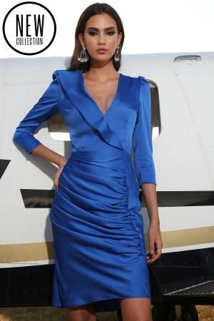 Rochie eleganta mini albastra din satin cu cret pe fusta si captuseala elastica