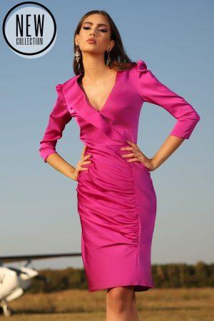 Rochie eleganta mini din satin cu cret pe fusta si captuseala elastica