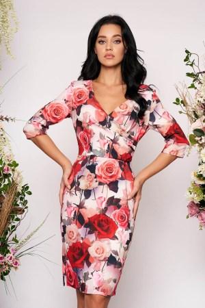 Rochie eleganta tip creion roz prafuit cu decolteu in v si imprimeu floral