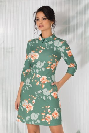 Rochie evazata verde deschis cu imprimeuri florale