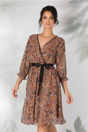 Rochie maro cu imprimeu floral stil mandala si buline negre catifelate