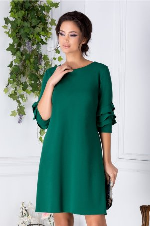 Rochie verde eleganta de zi cu decolteu oval discret