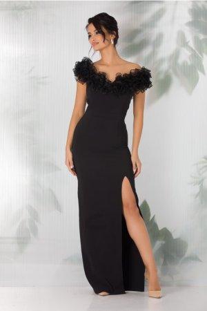 Rochie eleganta de ocazie neagra lunga cu volane maxi din organza