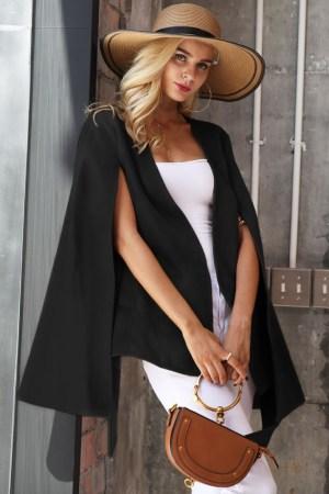 Capa dama scurta cu cordon neagra din stofa