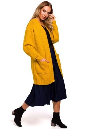 Cardigan galben mustar cu buzunare dressy