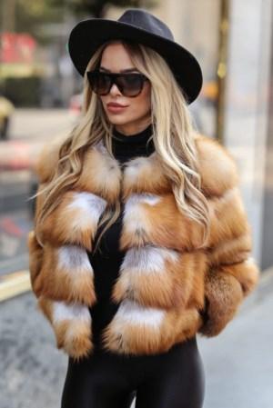Haina blana naturala dama vulpe gold fox scurta cu fermoar