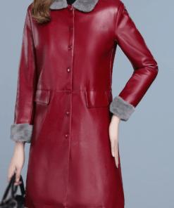 Jacheta dama din piele ecologica si captuseala de plus