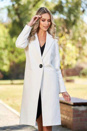 Palton dama alb cu croi drept din lana captusit pe interior cu buzunare
