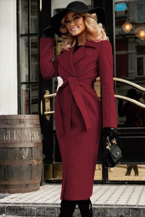 Palton dama bordo lung drept cu cordon din stofa