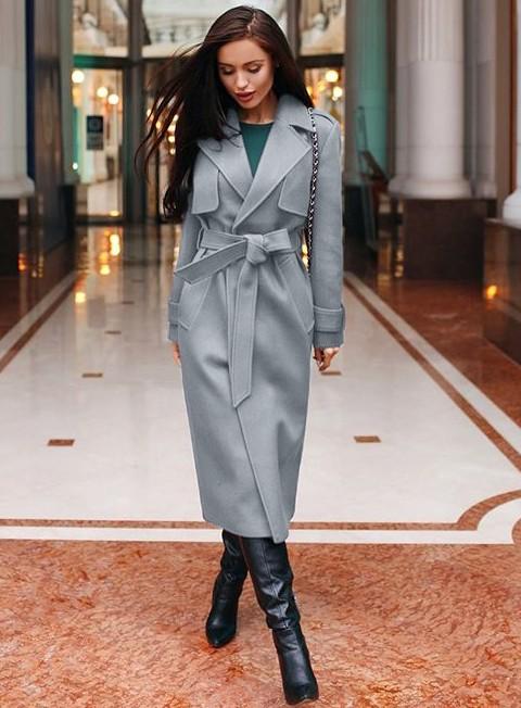 Ordin preț uimitor ridicat Palton dama gri lung cu cordon si revere din stofa | Smart ...