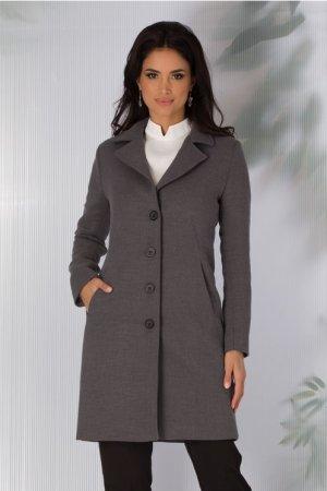 Palton dama gri scurt cu croi drept si inchidere cu nasturi