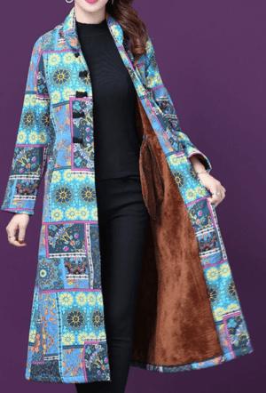 Palton dama lung cu imprimeu floral si captuseala de plus