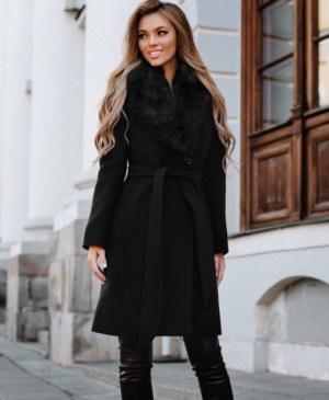Palton dama negru lung cambrat cu guler cu blana din stofa