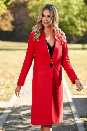 Palton dama rosu cu croi drept din lana captusit pe interior cu buzunare