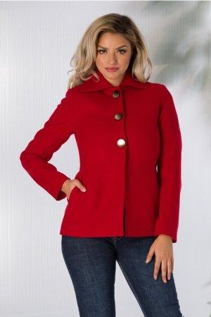 Palton dama scurt rosu elegant captusit cu nasturi aurii