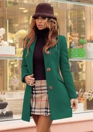 Palton dama verde scurt cambrat din stofa