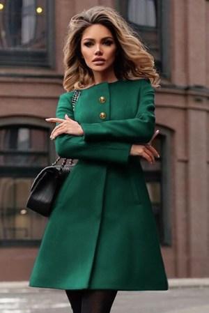 Palton dama verde scurt evazat cu cordon din stofa