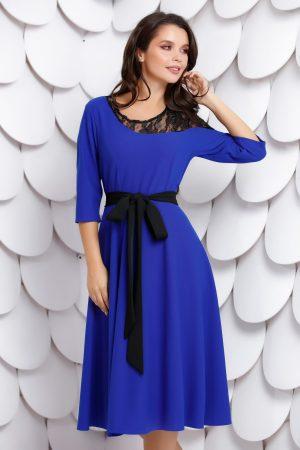 Rochie albastra de zi cu croi in a si cordon negru detasabil