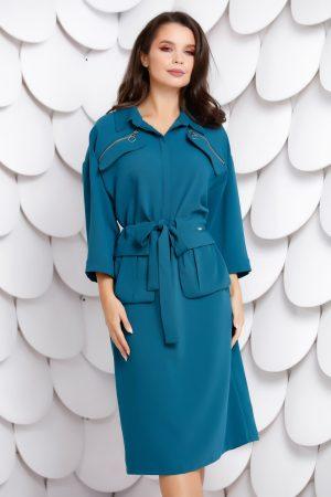 Rochie albastra tip camasa cu buzunare si cordon la talie