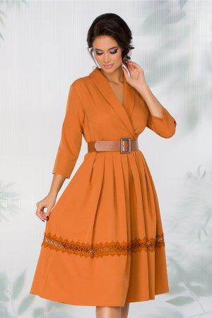 Rochie caramizie eleganta cu decolteu petrecut in v cu revere