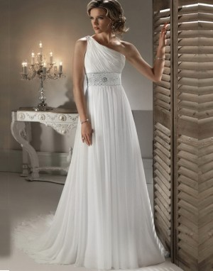 Rochie de mireasa stil grecesc cu un umar