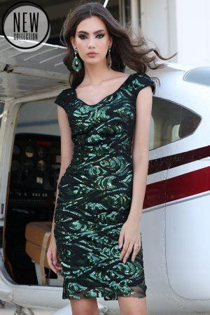 Rochie de ocazie eleganta scurta din paiete verzi cu decolteu in V