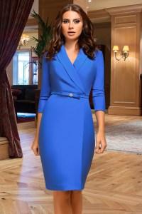 Rochie de seara albastra trei sferturi cambrata din bistrech cu revere