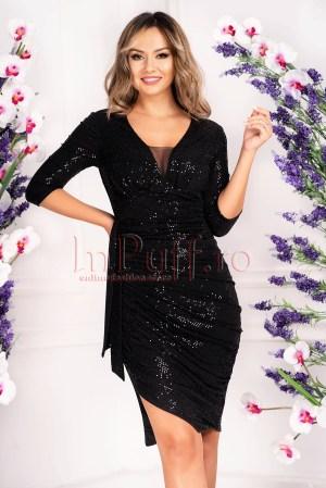 Rochie de seara eleganta din paiete negre cu decolteu in V
