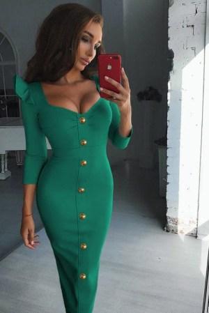 Rochie de zi verde lunga mulata cu nasturi din crep
