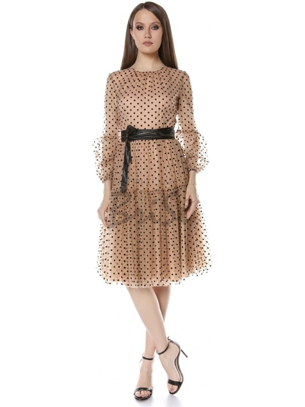 Rochie din tull cu buline de catifea