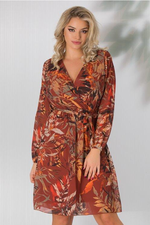 Rochie eleganta de zi caramizie cu imprimeu tomnatic si decolteu petrecut